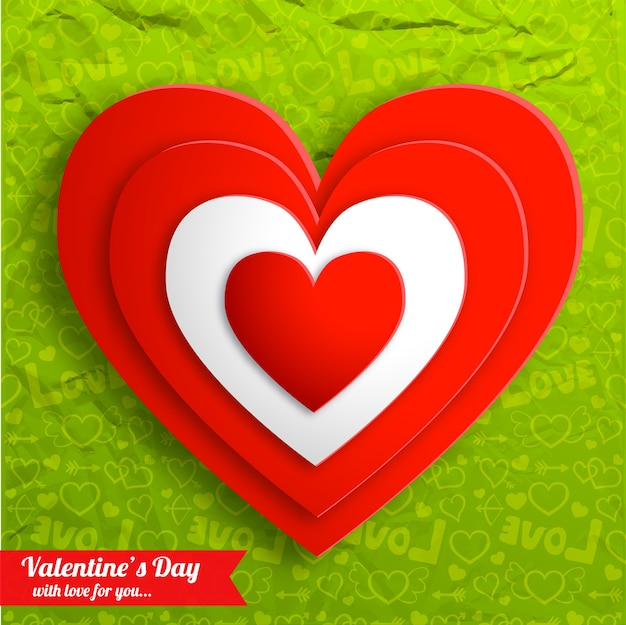 Red hearts on green crumpled paper vector illustration