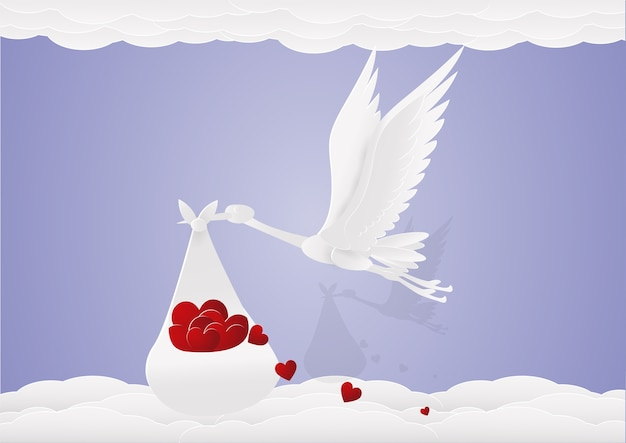 천 가방에 붉은 마음 백로 하늘을 날아