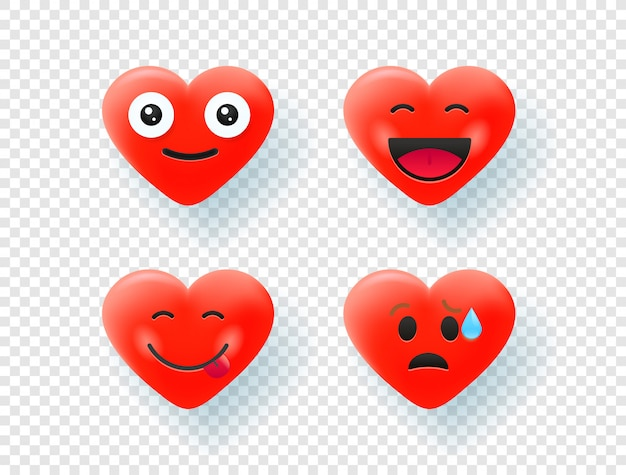 Red hearts isolated on transparent background