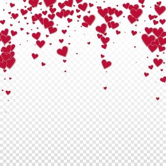 赤いハートは透明な背景に紙吹雪が大好き
