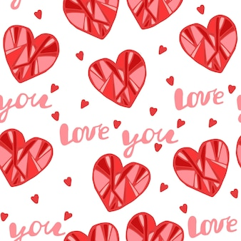 Red hearts seamless pattern for valentines day