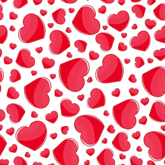 Red hearts seamless pattern on white