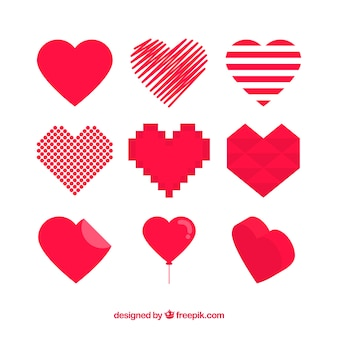 Red hearts set of different shapes