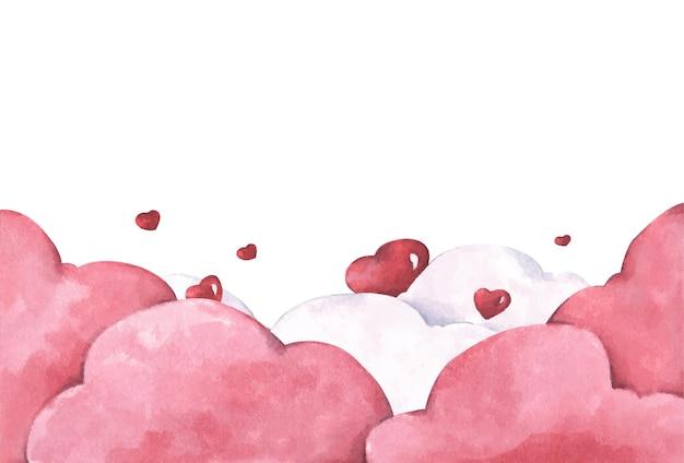 赤いハートが雲の上に形作られています。愛とバレンタインデーのイラスト。水彩イラスト。