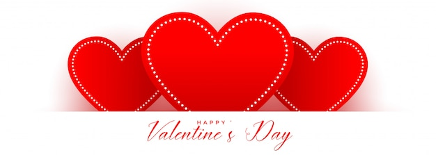 Red hearts for valentines day card