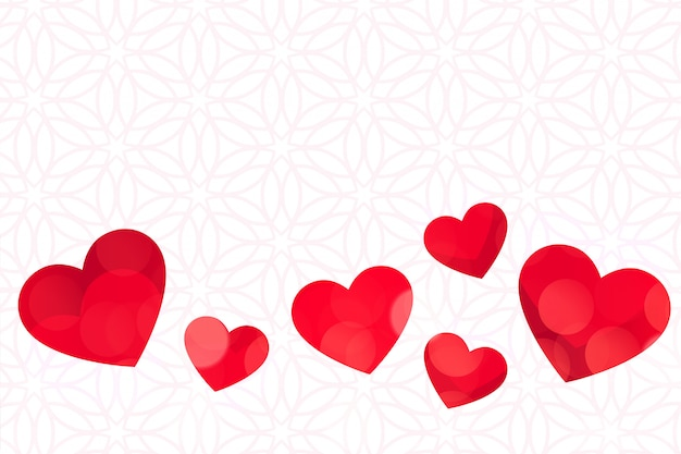Red hearts on white background valentines day
