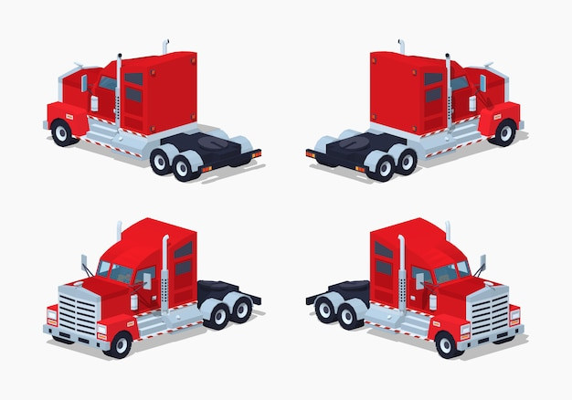 Red heavy 3d lowpoly isometric truck