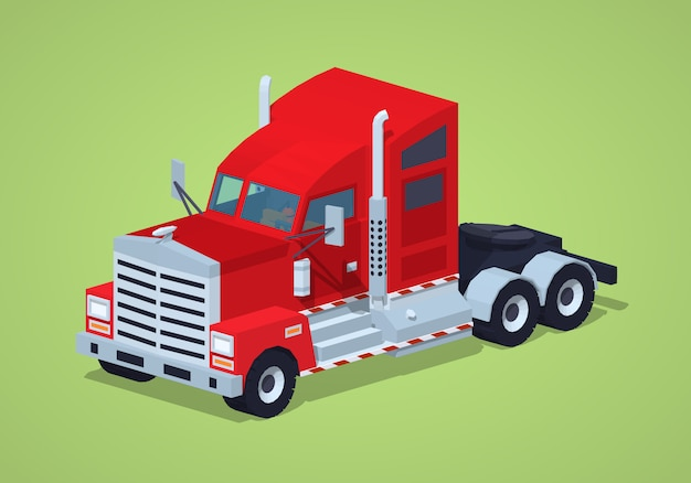 Red heavy american truck. 3d lowpoly isometric vector illustration