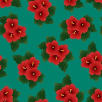 빨간 히 비 스커 스 syriacus- 녹색 배경에 샤론의 장미