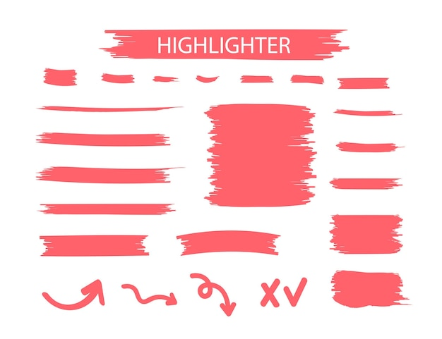 빨간색 형광펜 마커 스트로크. 노란색 수채화 손으로 그린 하이라이트 세트