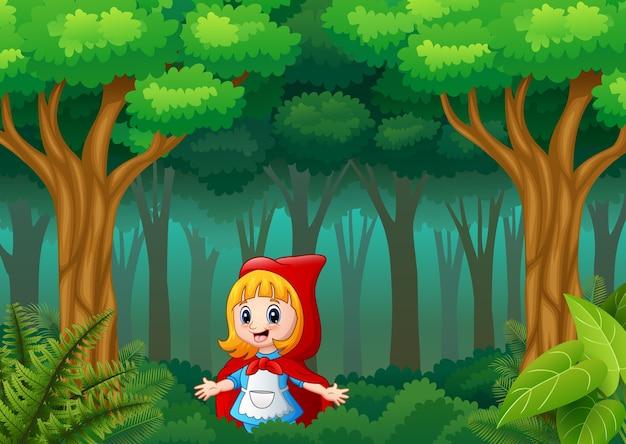 숲에서 마을에 빨간 두건 소녀