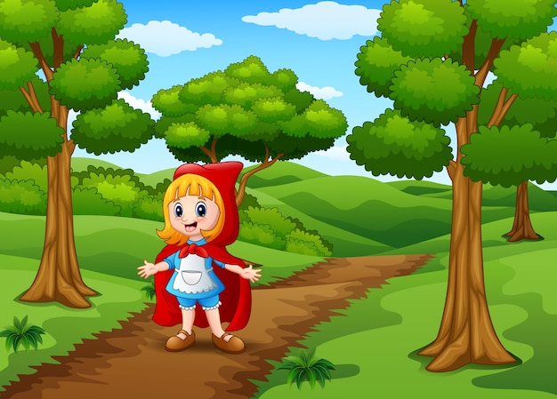 Red hooded girl are in the village at forest