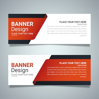 Red horizontal business banner layout template design.