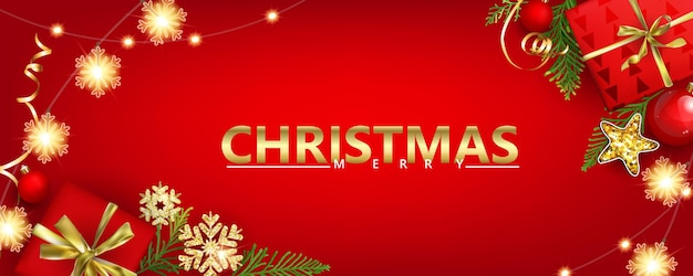 Red horizontal christmas banner with gift boxes and golden snowflakes with 3d effects