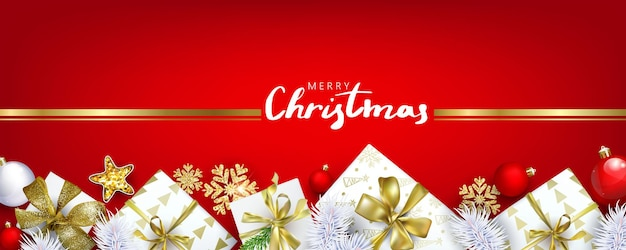 Red horizontal christmas banner with gift boxes and golden snowflakes with d effects