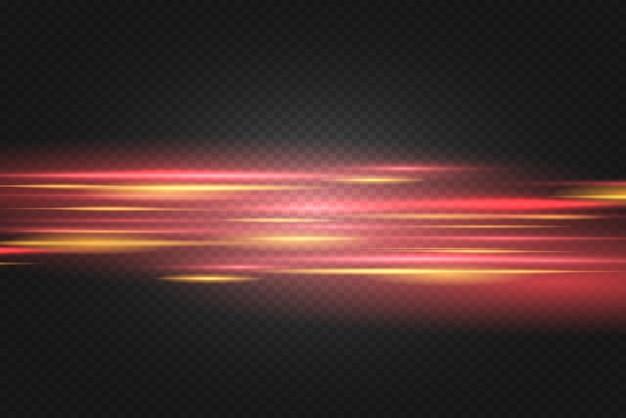 빨간색 수평 렌즈 플레어 팩. 레이저 빔, 수평 광선. 아름다운 빛 플레어. 어두운 배경에 빛나는 줄무늬. 빛나는 추상 반짝이 줄지어 배경.