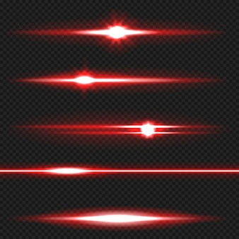 Red horizontal lens flares pack. laser beams, horizontal light rays