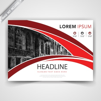 Red horizontal wavy leaflet template