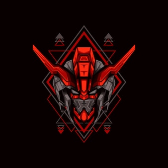 Red horned head robot illustration