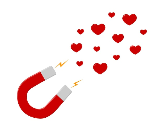 Red horseshoe magnet attracting hearts social media likes
