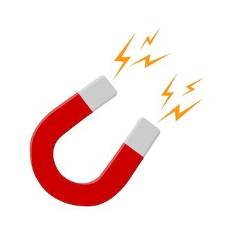 Красный подковообразный магнит со вспышкой молнии