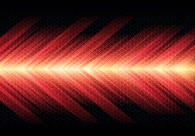 Red hot arrow light speed on dark hexagon mesh background.