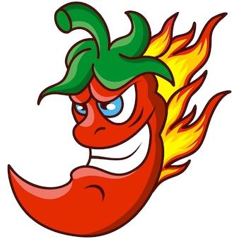 Красный острый перец чили мультфильм талисман огонь пламя
