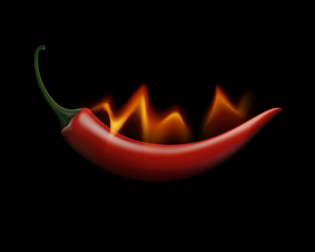 Red hot chili pepper on fire and flame  on white background