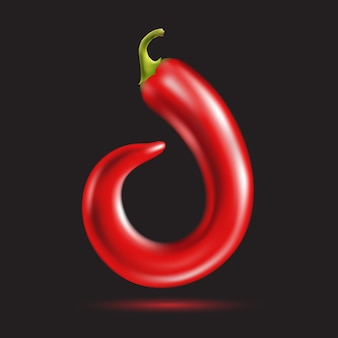Красный острый перец чили письмо символ