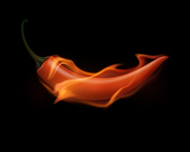 火と白い背景の上の炎の赤唐辛子