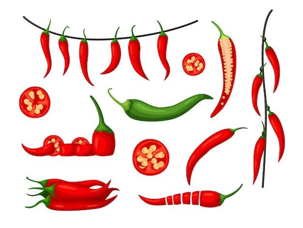 Набор красного острого перца чили, изолированные на белом фоне