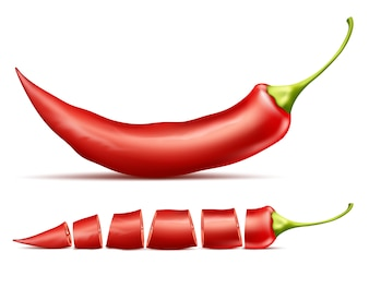 Red hot chili pepper, whole and sliced, isolated on background.
