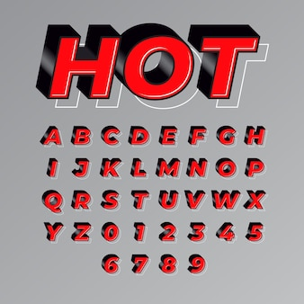 Red hot modern and bold font effect