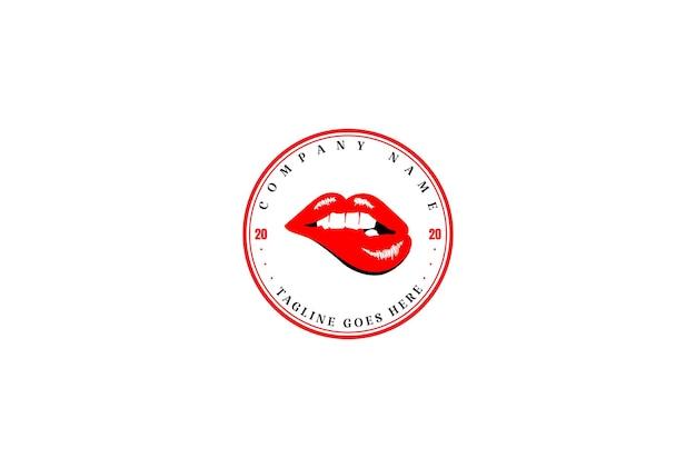 レッドホットセクシーな官能的ないたずらな女性の女の子の唇のロゴデザインベクトル