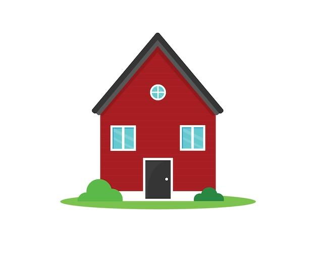 빨간 집과 덤불