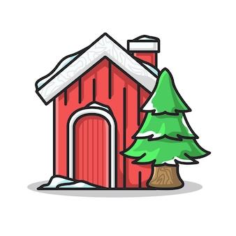 귀여운 라인 아트 그림에서 눈으로 덮인 빨간 집과 나무
