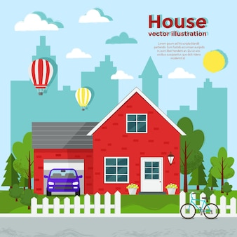 Red house flat illustration