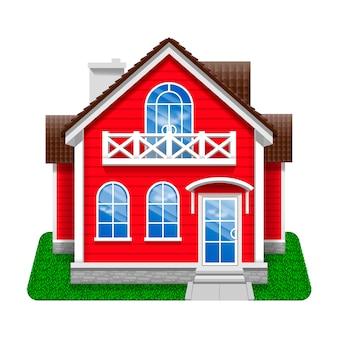 赤い家のアイコン。分離された漫画の詳細なイラスト