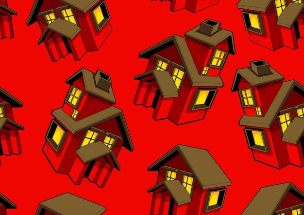 赤い家のシームレスなパターンと赤い背景。