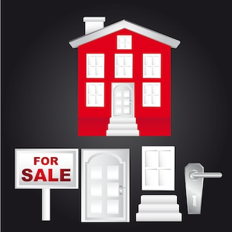 Red house with for sale sign