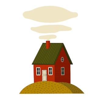 빨간 집. 녹색 섬에 소박한 스타일의 나무 헛간 집. 흰색 배경에 만화 스타일의 그림