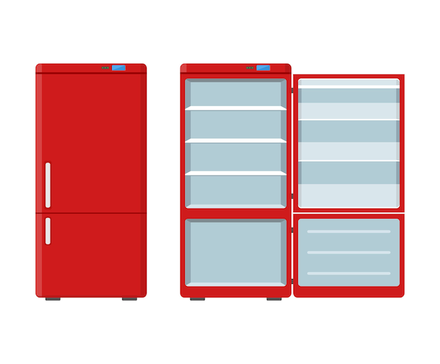 Red household appliances fridge open and closed isolated on white