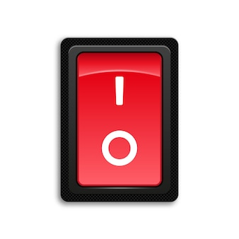 Red icon on and off toggle switch button.