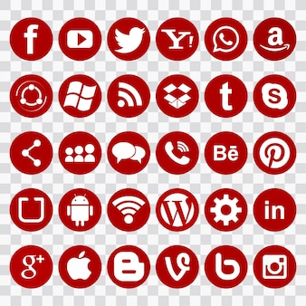 Red icons for social networks