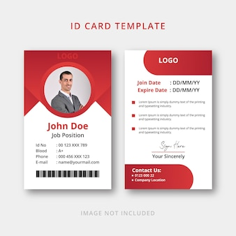 Red id card design template