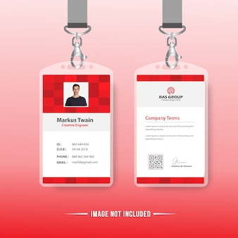Red identification or id card design for office