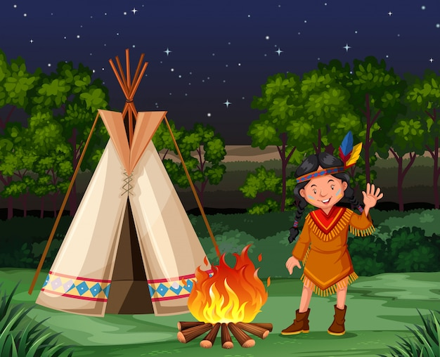 Red indian at the campfire