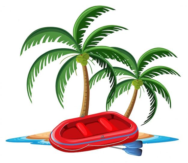 Красная надувная лодка на тропическом острове на белом фоне