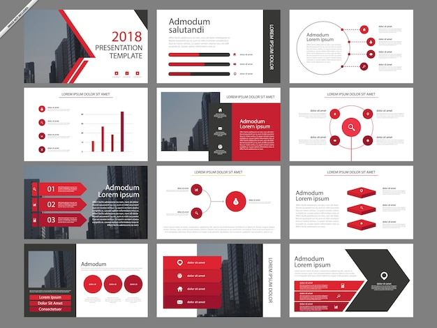 Red infographic presentation templates