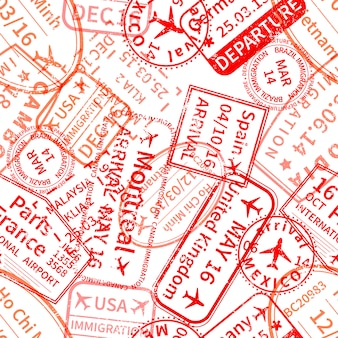 Red international travel visa rubber stamps imprints on white, seamless pattern